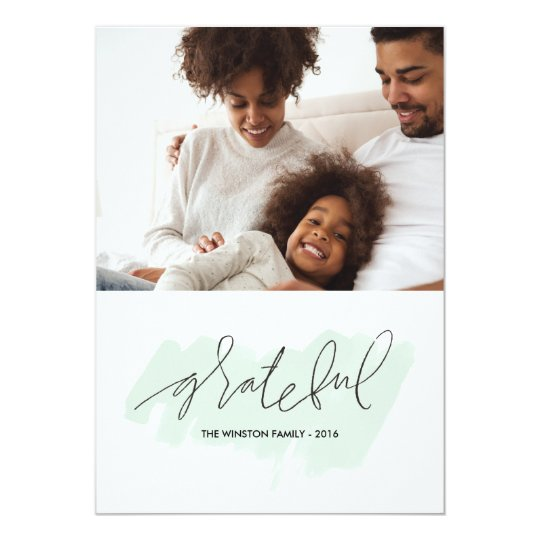 Watercolor Grateful Holiday Photo Card - Frost