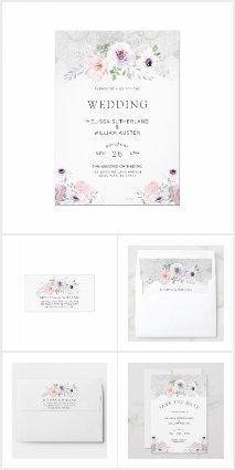 Watercolor Gray Lilac Blush Floral Wedding