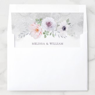 Watercolor Gray Lilac Blush Floral Wedding Envelope Liner