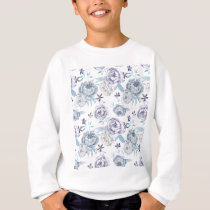 Watercolor Gray peony Pattern Sweatshirt