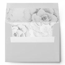 watercolor gray succulent liner wedding envelope
