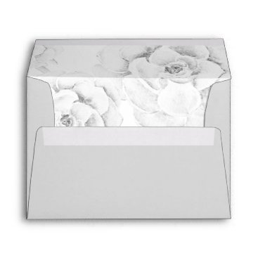 watercolor gray succulent liner wedding envelope