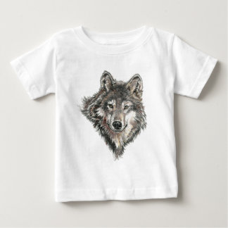 Watercolor  Gray Wolf Animal Nature wolves wild Baby T-Shirt