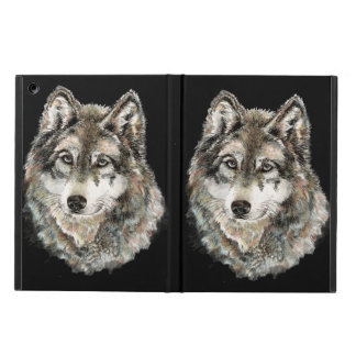 Watercolor Gray Wolf Animal Nature wolves wild Cover For iPad Air