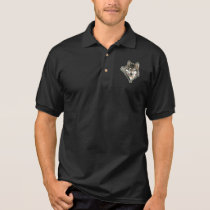 Watercolor  Gray Wolf Logo  Animal Nature wolves Polo Shirt