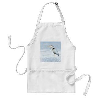 Watercolor Great Blue Heron Bird Adult Apron
