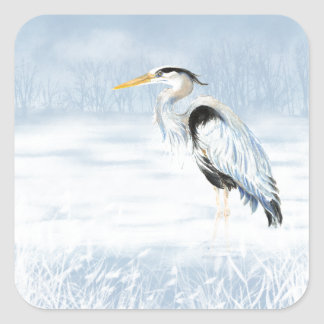 Watercolor Great Blue Heron Bird Square Stickers