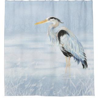 Watercolor Great Blue Heron Bird Wildlife Art Shower Curtain