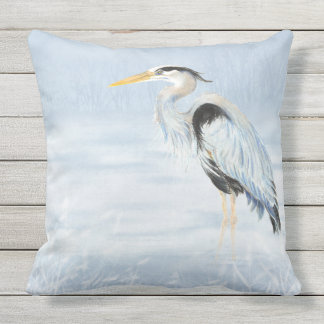 Watercolor Great Blue Heron Bird Wildlife Art Throw Pillow