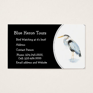 Watercolor Great Blue Heron Tours Business Business Card