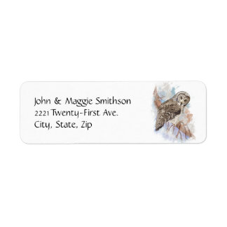 Watercolor Great Gray Owl Bird Nature Art Label