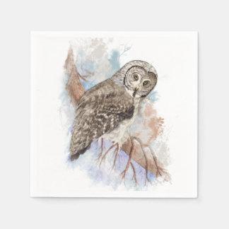 Watercolor Great Gray Owl Bird Nature Art Paper Napkin
