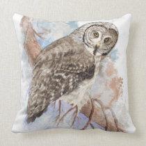Watercolor Great Gray Owl Bird Nature Art Throw Pillow