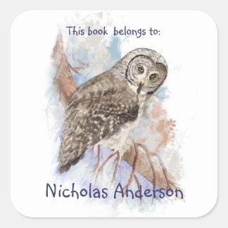 Watercolor Great Grey Owl Birds Bookplate art