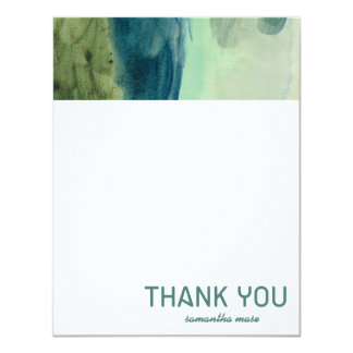 Watercolor Green and Blue Abstract Thank You Card
