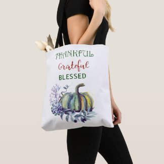 Watercolor Green and Blue Pumpkin Tote Bag