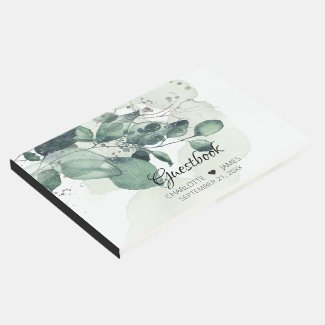 Watercolor green botanical personalized wedding guest book
