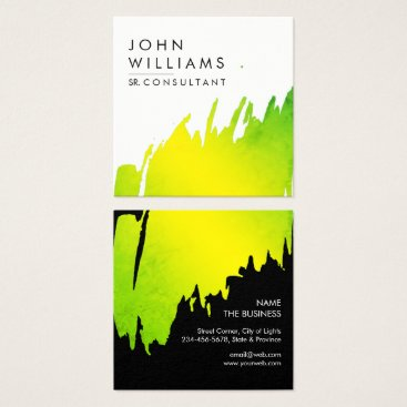 Professional Business Watercolor Green Brushed Strokes Professional Square Business Card