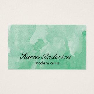 Watercolor (green) business card