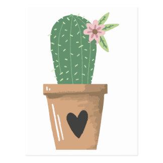 Watercolor Green Cactus Flower Love Heart Postcard