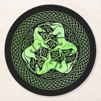 Watercolor Green Celtic Knot Ring with Horses Round Paper Coaster