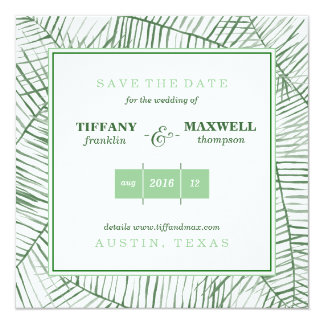 Watercolor Green Ferns Save the Date Square Card