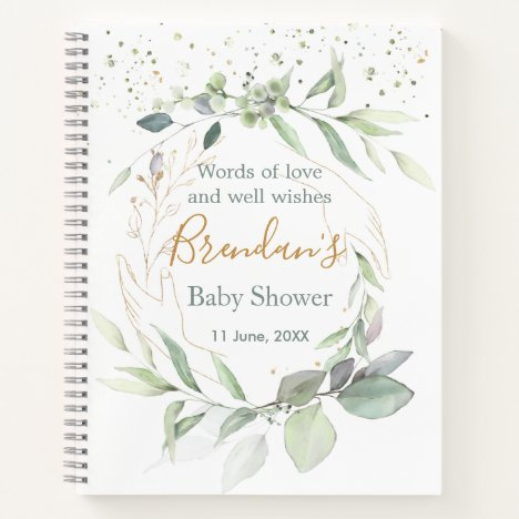 Watercolor Green foliage Baby Shower Guest Book