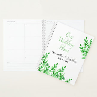 Watercolor Green Foliage | Wedding Plans Planner