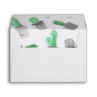 Watercolor green gray modern cactus pattern envelopes
