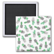 Watercolor green gray modern cactus pattern magnet