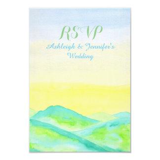 Watercolor Green Hills Blue Sky Hand Drawn RSVP 3.5x5 Paper Invitation Card