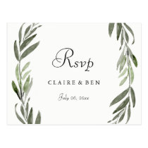 Watercolor Green Leaf All Occasion RSVP Postcard
