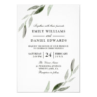 Watercolor Green Leaf Modern Wedding Invite
