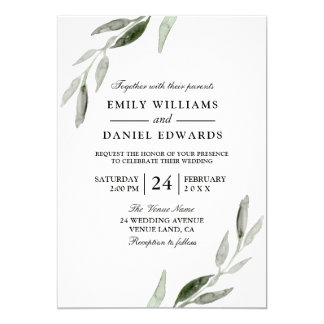 Watercolor Green Leaf Modern Wedding Invite