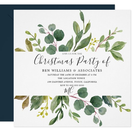 Office Christmas Party Invitation.Watercolor Green Leaf Office Christmas Party Invitation