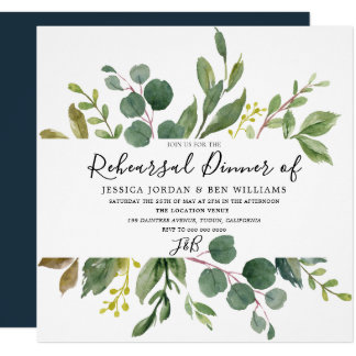 Watercolor Green Leaf Rehearsal Dinner Invitation