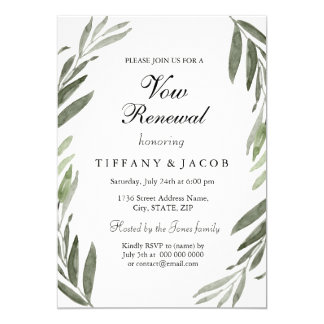 Watercolor Green Leaf Vow Renewal Invitation