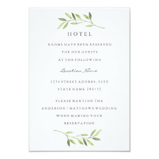 Watercolor Green Leaf Wedding Hotel Accommodation Card