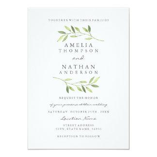 Watercolor Green Leaf Wedding Invitation
