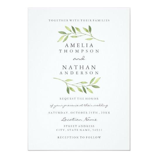 Watercolor Green Leaf Wedding Invitation Zazzle Com