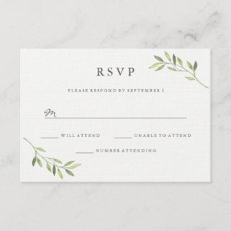 Watercolor Green Leaf Wedding RSVP