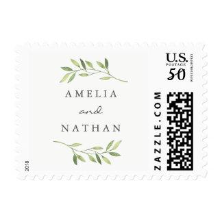 Watercolor Green Leaf Wedding Stamp