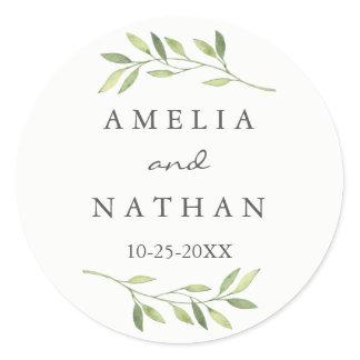 Watercolor Green Leaf Wedding Sticker