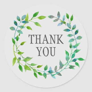 Watercolor Green Leaf Wreath   Thank You Classic Round Sticker