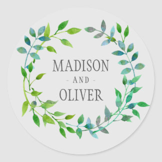 Watercolor Green Leaf Wreath   Wedding Classic Round Sticker