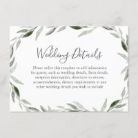 Watercolor Green Leaf Wreath Wedding Details Enclosure Card