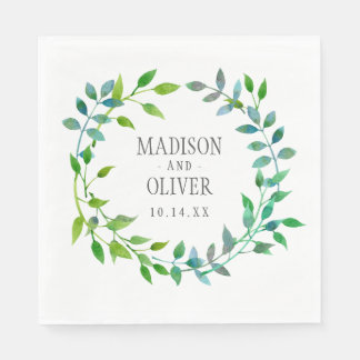 Watercolor Green Leaf Wreath | Wedding Paper Napkin