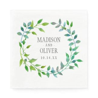 Watercolor Green Leaf Wreath | Wedding Paper Napkin