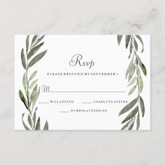 Watercolor Green Leaf Wreath Wedding RSVP