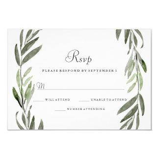 Watercolor Green Leaf Wreath Wedding RSVP Card